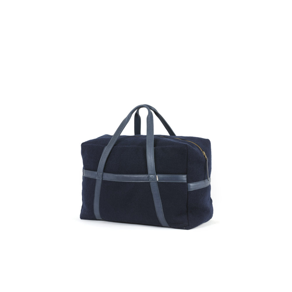 Medium Soft Bag - Boiled wool and glossy leather - Blue color