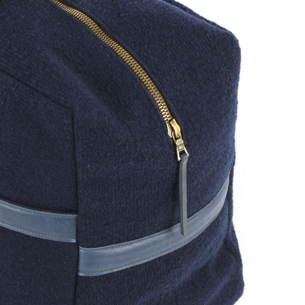 Soft Bag - Merino wool and glossy leather - Blue color