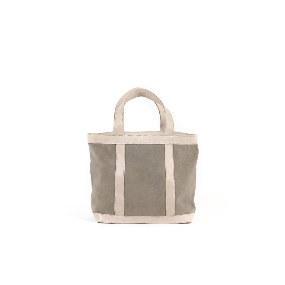Shopping Bag - Glossy and suede leather - Grey color
