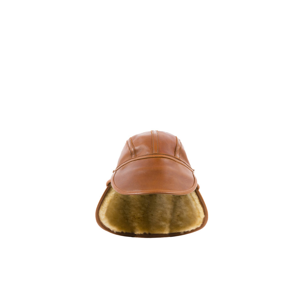 US Cap Type B2 Winter - Glossy leather - Brown color