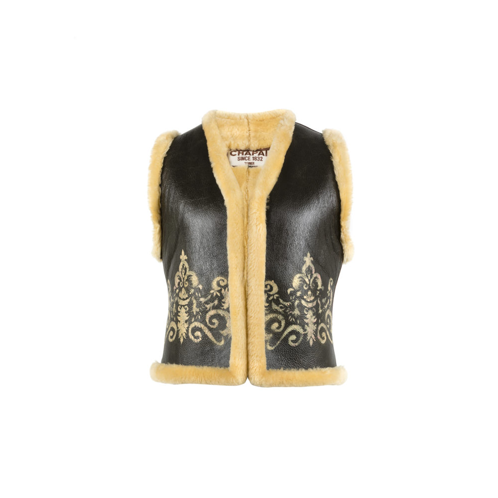 Ecstasy Vest - Varnished shearling - Gold color