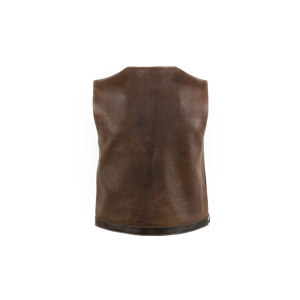 Brides Vest - Glossy leather - Brown color