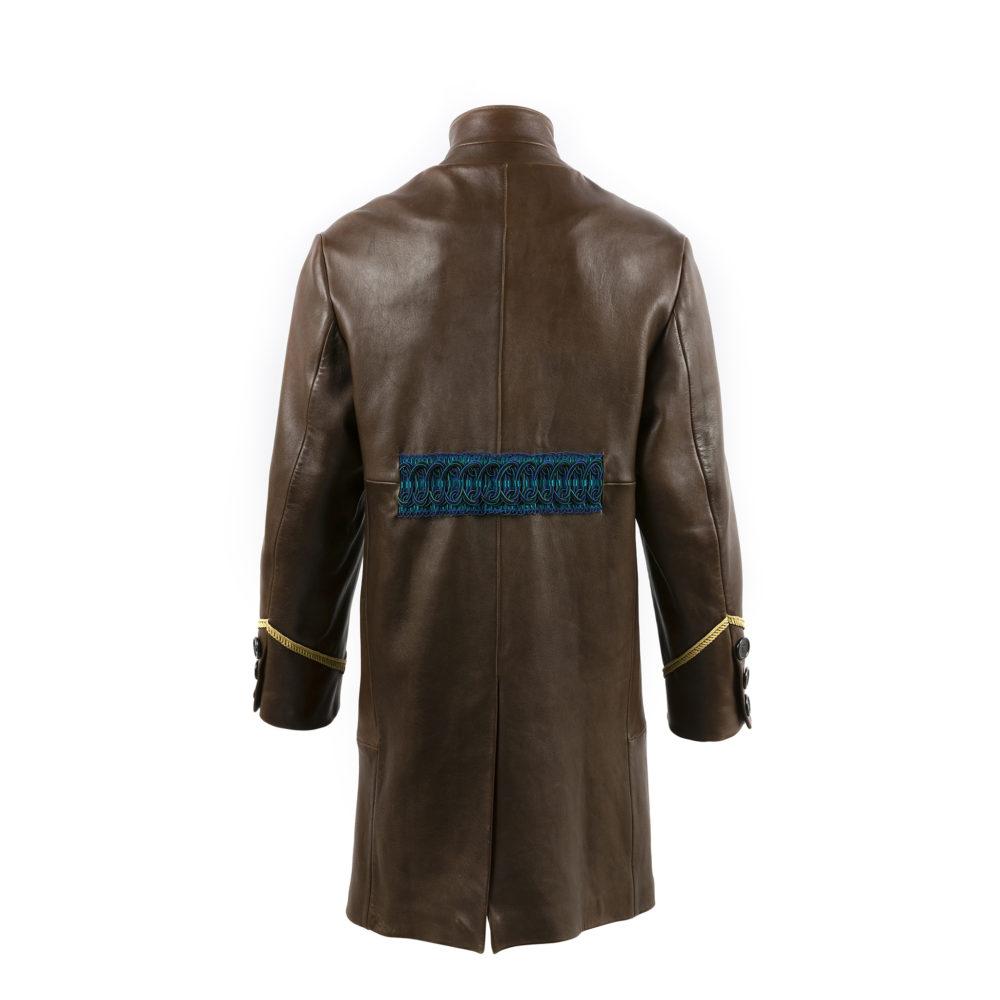Manteau Empire - Cuir glacé - Couleur brun
