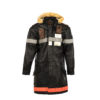 Firefighter Coat - Glossy leather - Black color