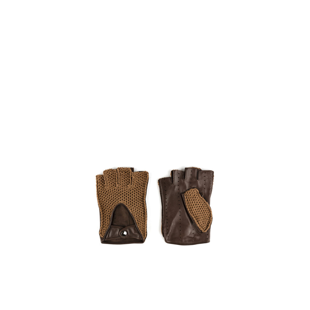 Knitted Mittens - Mesh and glossy leather - Brown color