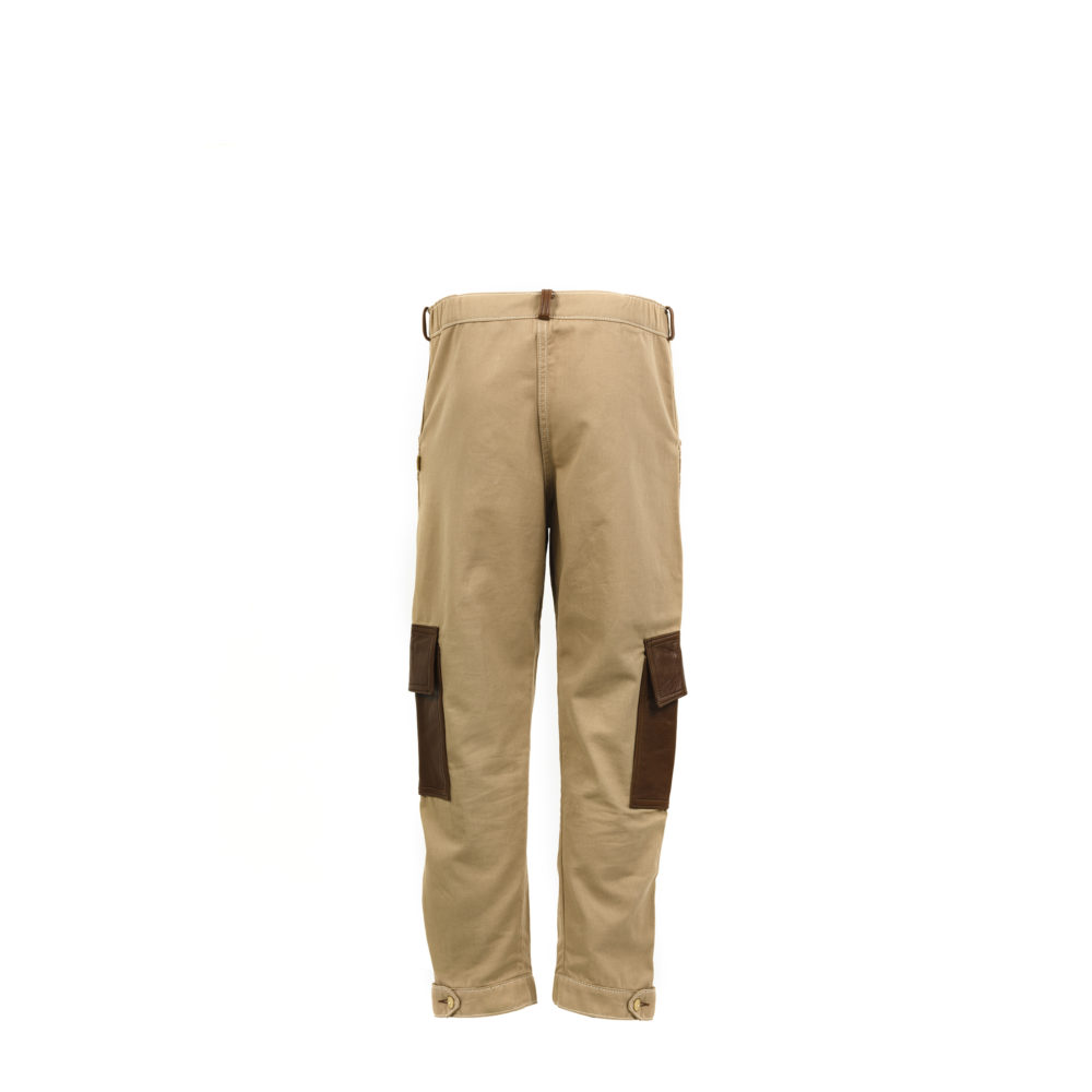 Pilot Pants Aviator Pockets - Cotton gabardine and glossy leather - Ecru and brown colors