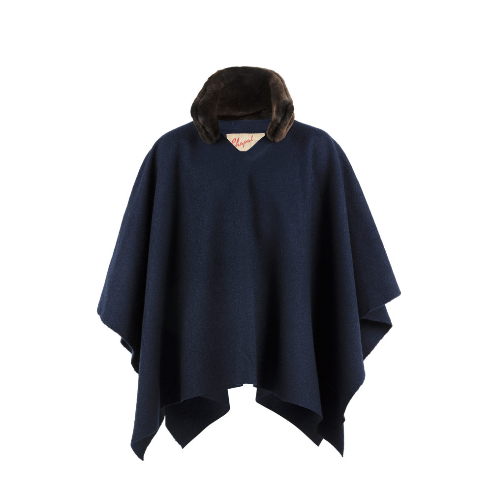 Poncho - Merino wool - Blue color