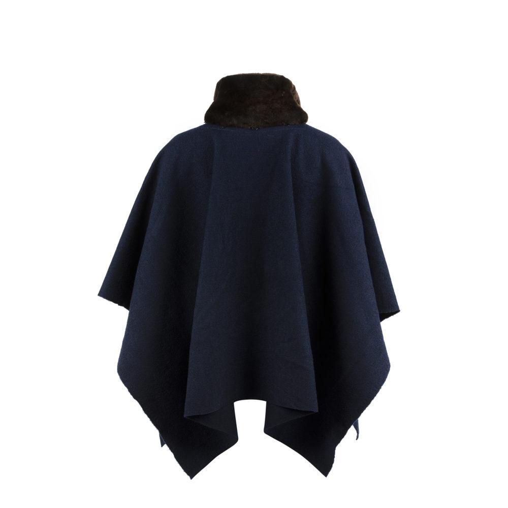 Poncho - Laine Mérinos - Couleur bleu