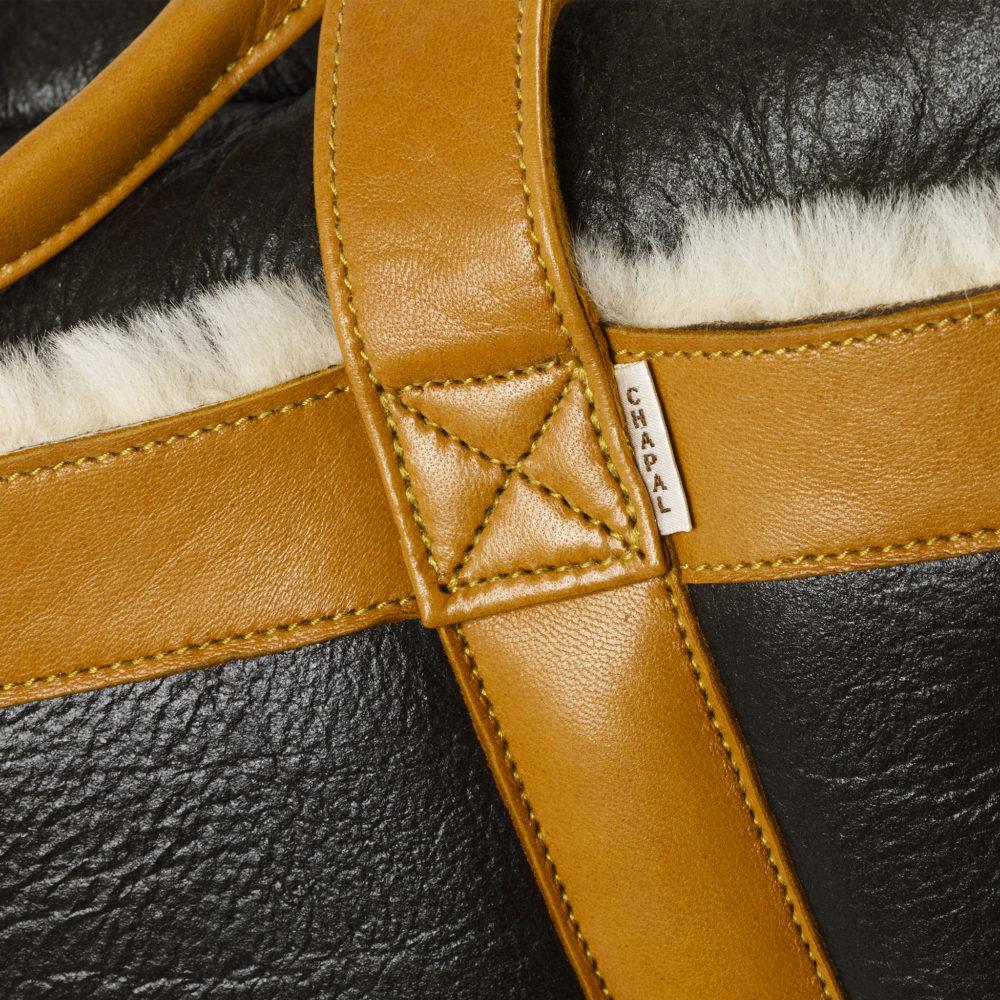Soft Bag - Varnished shearling - Tan color
