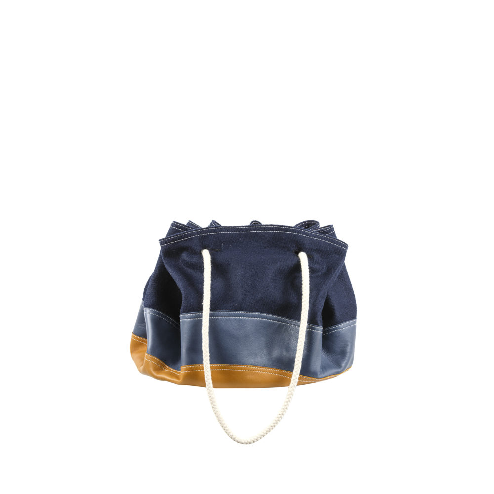 Cruising Bag - Merino wool and glossy leather - Blue and tan colors