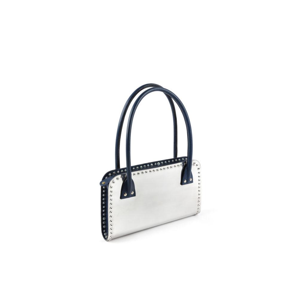 Carpart Handbag - Aluminium and glossy leather - Blue color