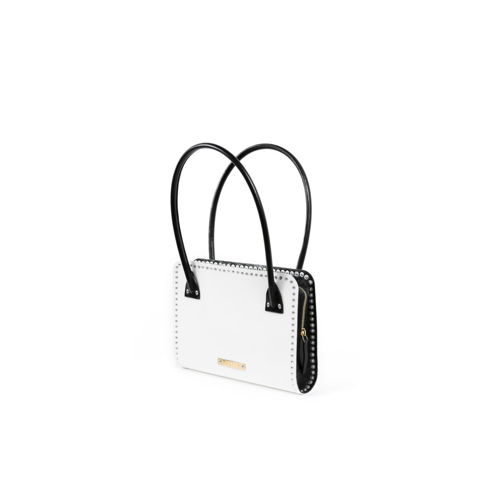Carpart Evening Bag - Aluminium and glossy leather - Black and white colors