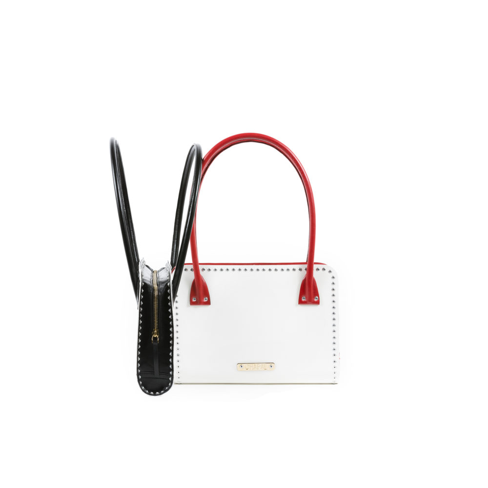 Carpart Evening Bag - Aluminium and glossy leather - Black and red colors