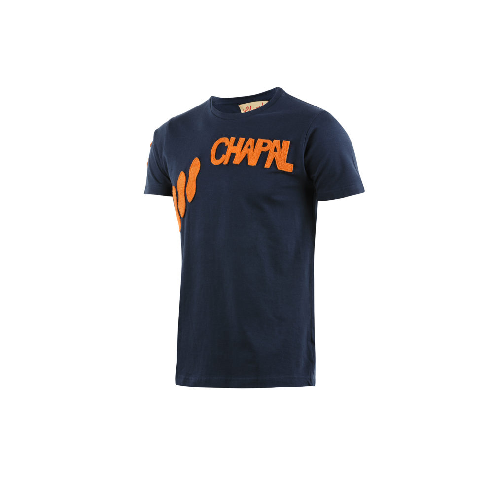T-shirt Apostrophe - Cotton jersey and wool - Blue and orange colors
