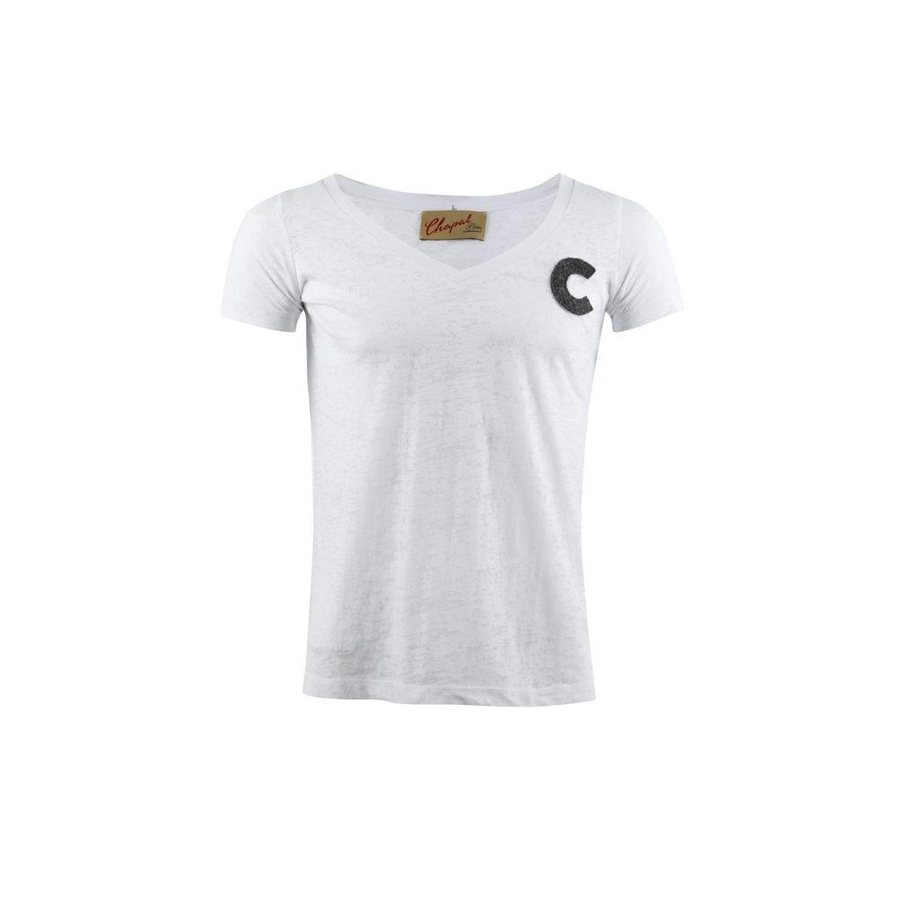 T-shirt C - Jersey de coton et laine - Couleurs blanc et gris