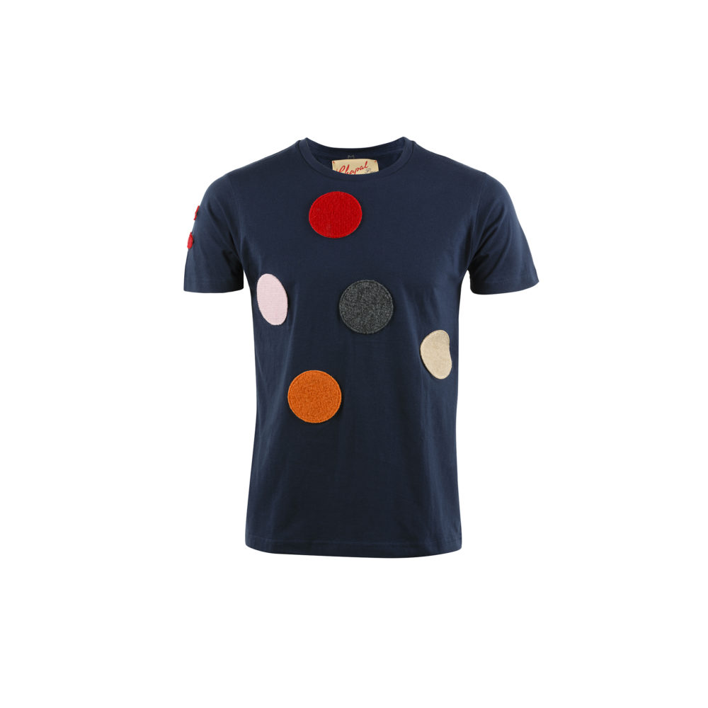T-shirt Spot - Cotton jersey and wool - Blue color
