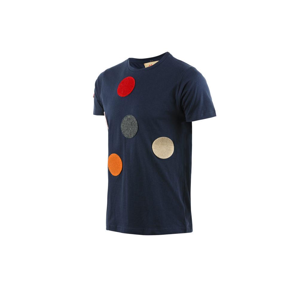 T-shirt Spot - Jersey de coton et laine - Couleur bleu