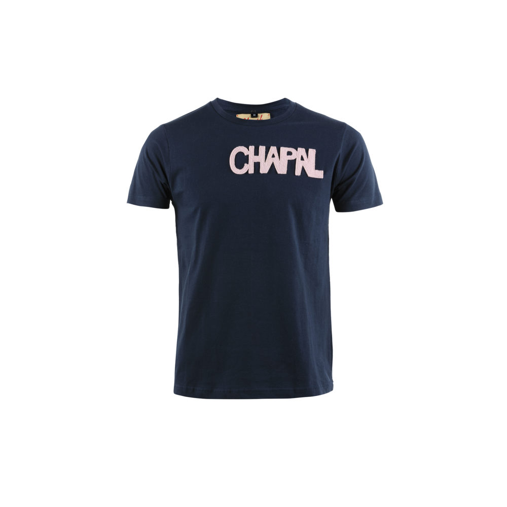 T-shirt Letters Short Sleeves - Cotton jersey and wool - Blue and pink colors