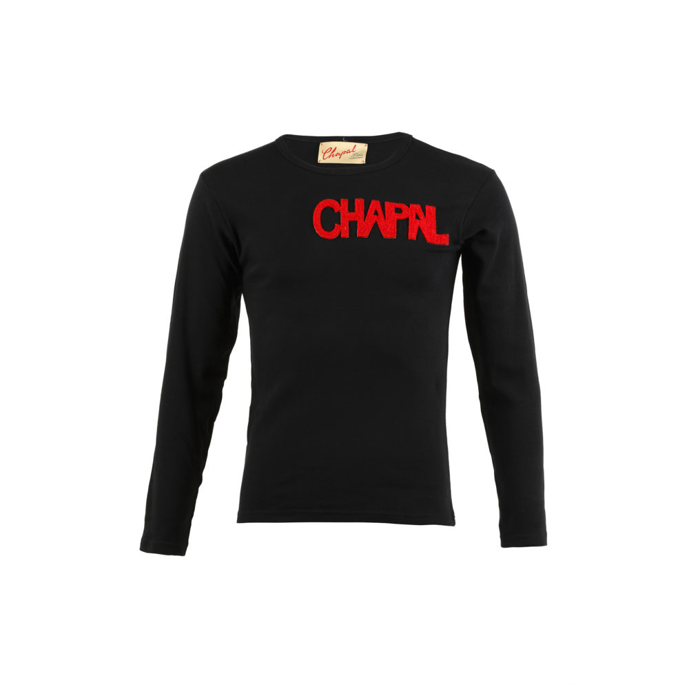 T-shirt Letters Long Sleeves - Cotton jersey and wool - Black and red colors