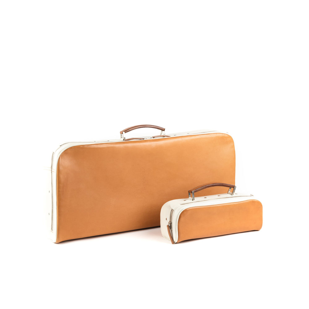 Suitcase Mini and Suitcase - Glossy leather - Orange color