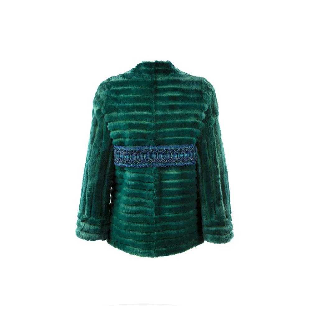 Veste Festonnée - Fourrure de lapin - Couleur vert