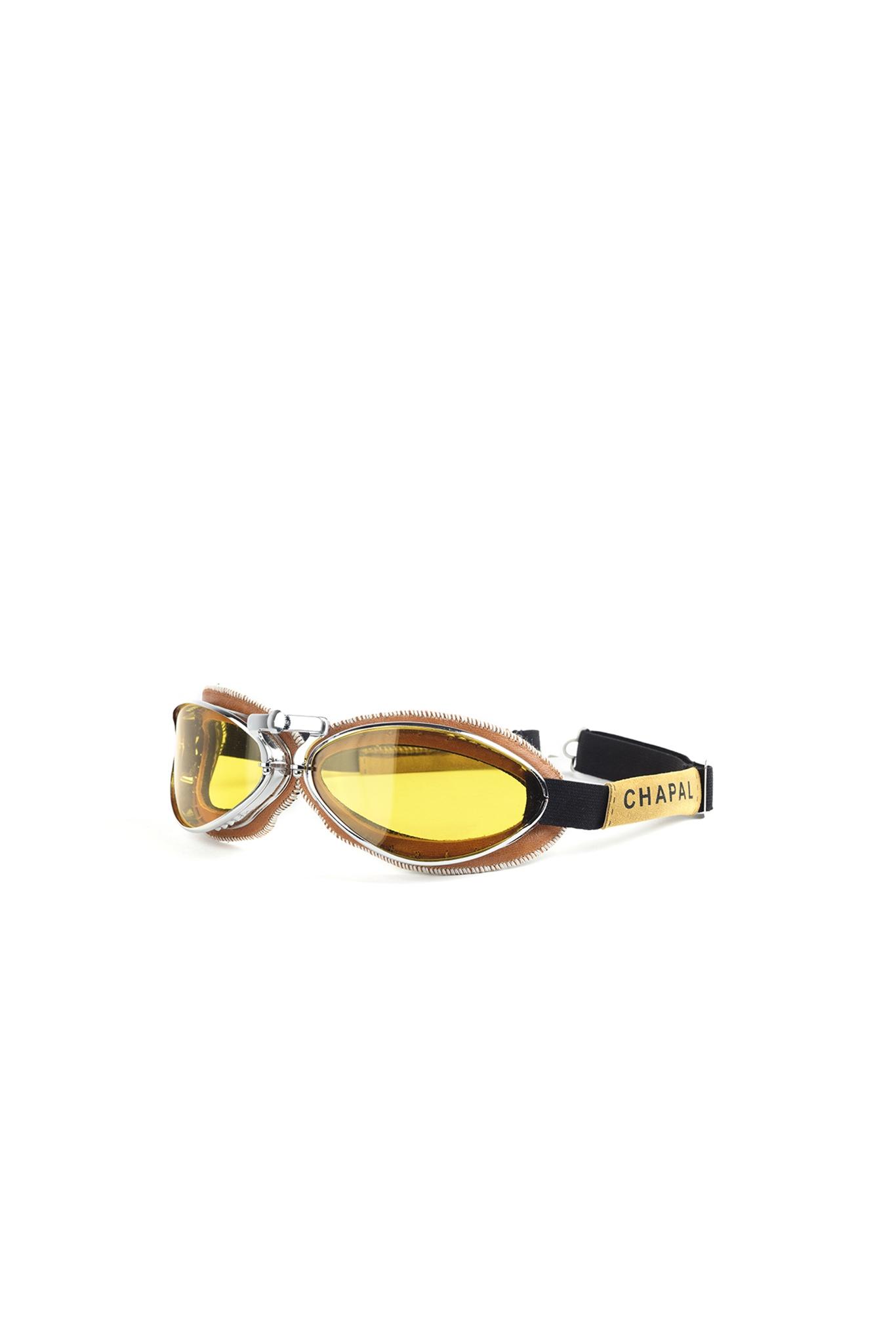 Retro Goggles - Aluminium and glossy leather - Tan color