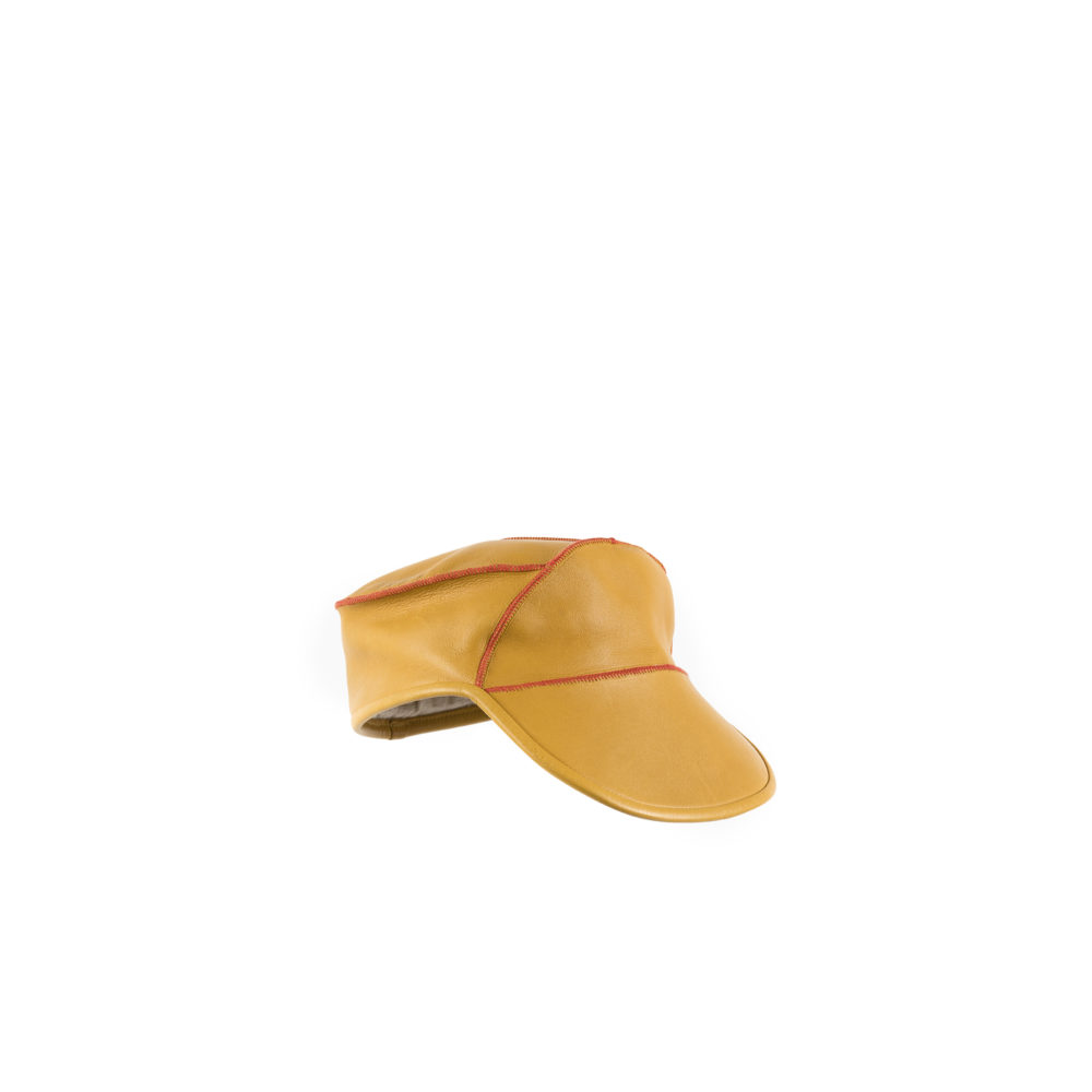 Chauffeur Cap - Glossy leather - Yellow color
