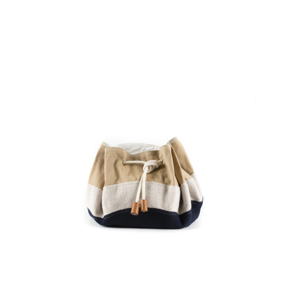Cruising Bag - Cotton gabardine and merino wool - Beige, ecru and blue colors