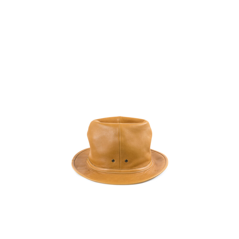 Leather Hat - Glossy leather - Tan color
