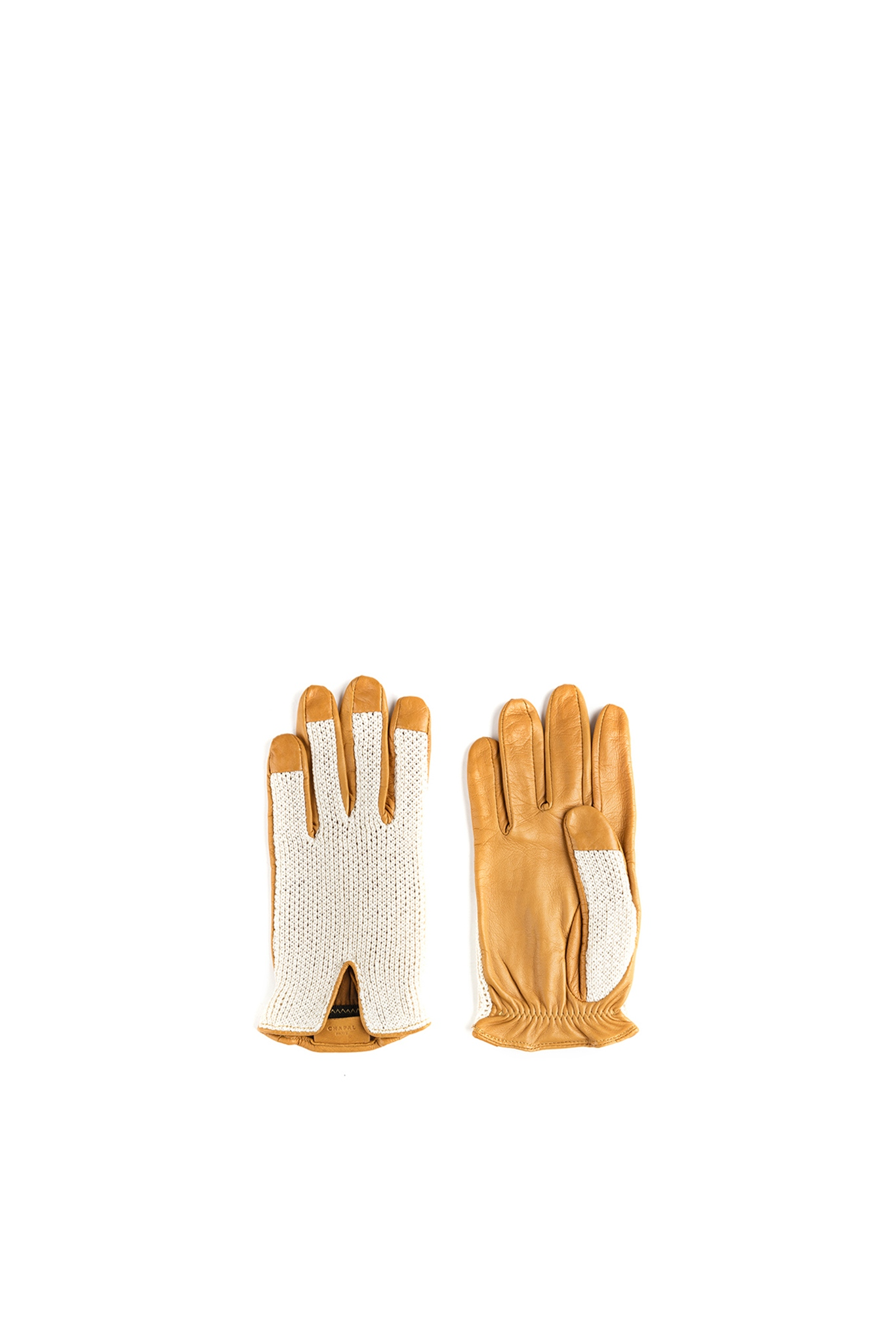 1950 Knitted Gloves - Mesh and glossy leather - Tan color